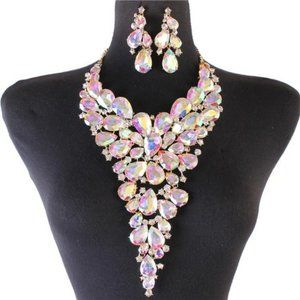 Crystal Large Necklace/ Earrings Set
